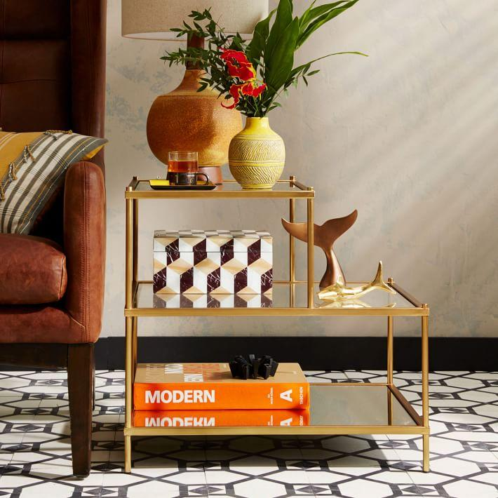 """<p><strong></strong></p><p>westelm.com</p><p><strong>$259.00</strong></p><p><a href=""""https://go.redirectingat.com?id=74968X1596630&url=https%3A%2F%2Fwww.westelm.com%2Fproducts%2Fterrace-side-table-h530&sref=https%3A%2F%2Fwww.countryliving.com%2Fdiy-crafts%2Fg31152821%2Feasy-side-end-table-plans%2F"""" target=""""_blank"""">Shop Now</a></p><p>If you have more than a remote to place on your side table, you may want a little extra space. This triple-decker table provides just that.</p>"""