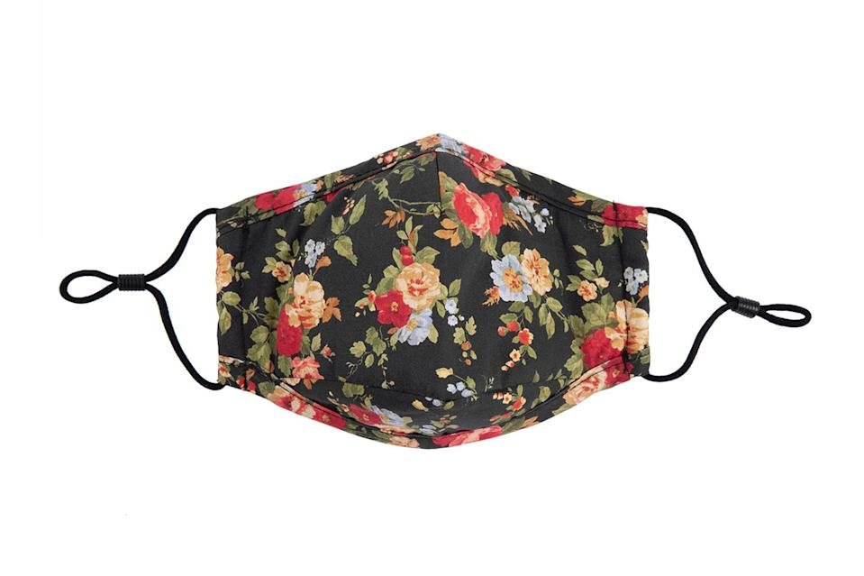 "$28, Profound. <a href=""https://profoundco.com/collections/homepage/products/triple-layered-protective-black-floral-print-face-mask"" rel=""nofollow noopener"" target=""_blank"" data-ylk=""slk:Get it now!"" class=""link rapid-noclick-resp"">Get it now!</a>"