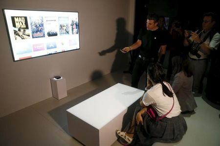 The new Apple TV is displayed during an Apple media event in San Francisco, California, September 9, 2015. REUTERS/Beck Diefenbach