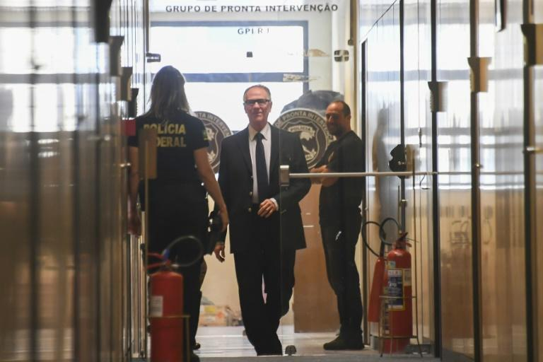 Among the recipients of messages from Papa Massata Diack was Brazil's former Olympic Committee chief, Carlos Arthur Nuzman (C), who was arrested in October 2017