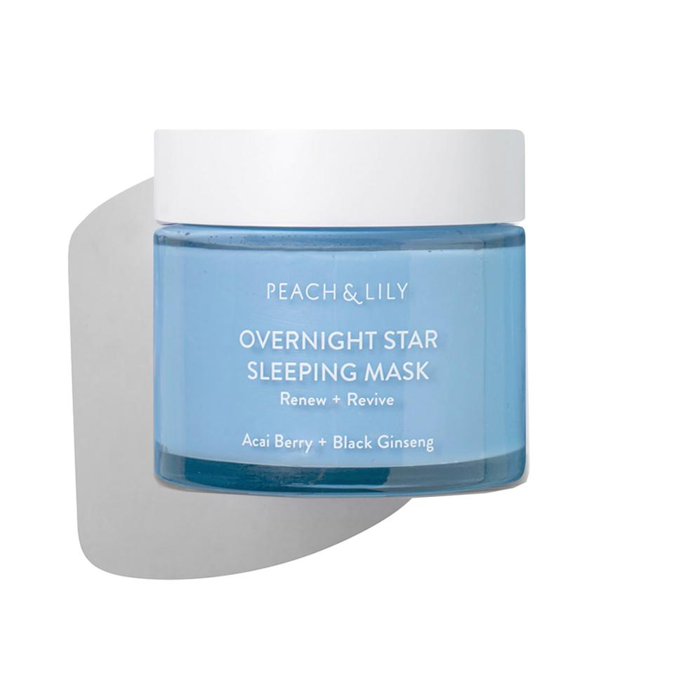 """<p>Another Peach & Lily Mask arriving this month is the Overnight Star Sleeping Mask, which takes the notion of night cream to a new level. It helps firm and brighten skin with açai berry and fatty acids, while a blend of jojoba, squalane, and macadamia deeply hydrate skin while controlling sebum. And don't worry — you won't get the pretty blue color all over your pillow. The jelly-balm texture absorbs quite quickly.</p> <p><strong>$43</strong> (<a href=""""https://shop-links.co/1680637599658304395"""" rel=""""nofollow"""">Shop Now</a>)</p>"""