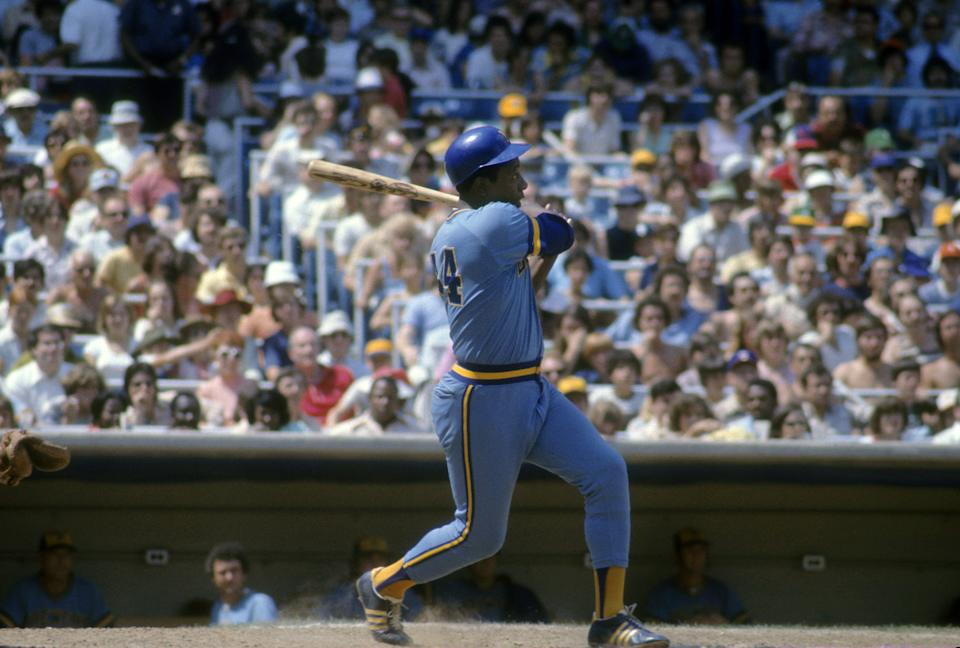 BRONX, NY - CIRCA 1975: Outfielder Hank Aaron #44 Of the Milwaukee Brewers swings and watches the flight of his ball against the New York Yankees circa 1975 during a Major League Baseball game at Yankee Stadium in Bronx, New York. Aaron played for the Brewers from 1975-76. (Photo by Focus on Sport/Getty Images)