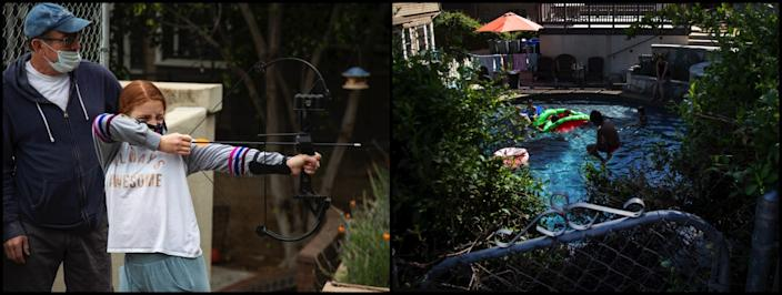"Top, Veronica Roth teaches yoga during PE in the front yard. Left, David Bristow helps daughter Ellie, 11, shoot a bow-and-arrow. Right, Sylvester Roth does a cannonball while joining his classmates for a swim. <span class=""copyright"">(Ginma Ferazzi / Los Angeles Times)</span>"