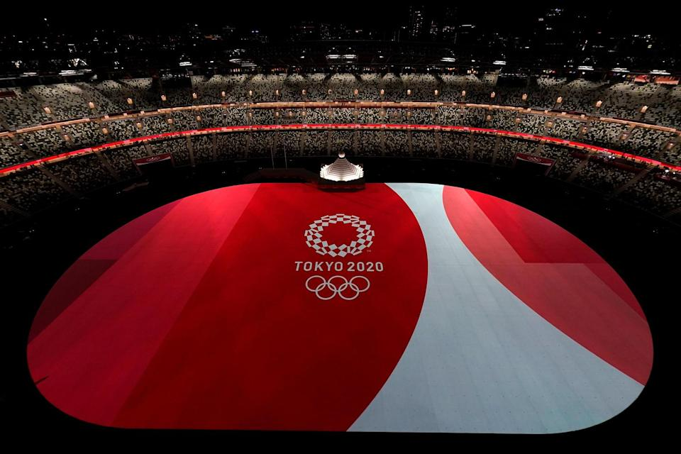 <p>The stage for the opening ceremony was designed by Yohei Taneda and was meant to represent the sun and Japan's Mount Fuji.</p>