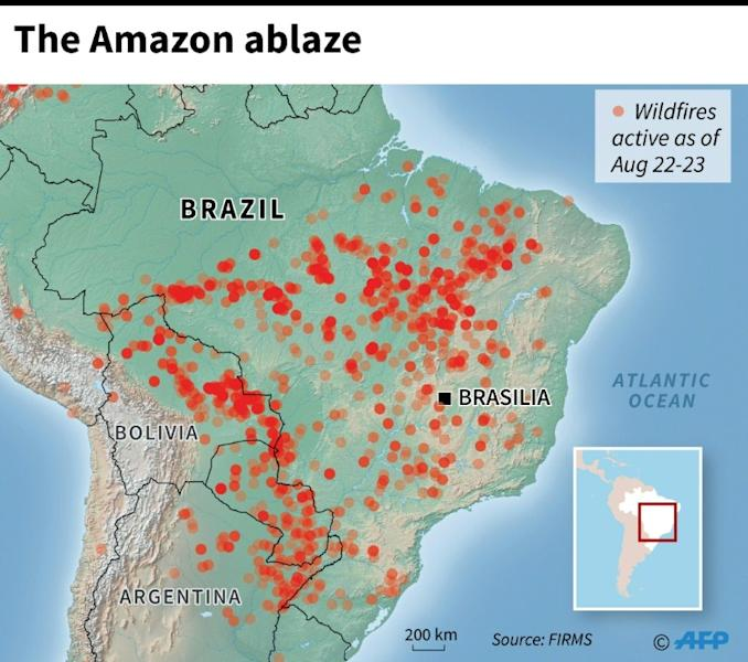 Map locating wildfires in the Amazon as of Aug 22-23