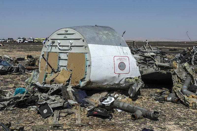 Debris of the A321 Russian airliner on the ground a day after the plane crashed in Wadi al-Zolomat, a mountainous area in Egypt's Sinai Peninsula, on November 1, 2015