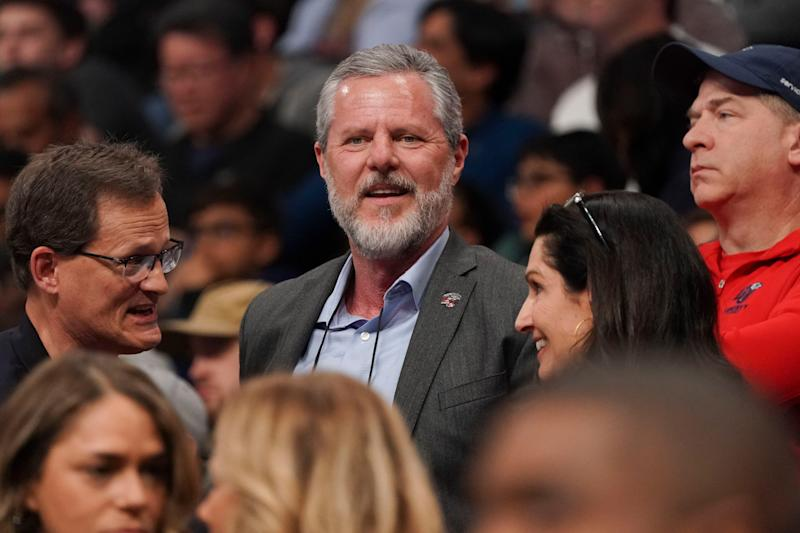 Jerry Falwell Jr. in attendance at an NCAA tournament game in 2019.