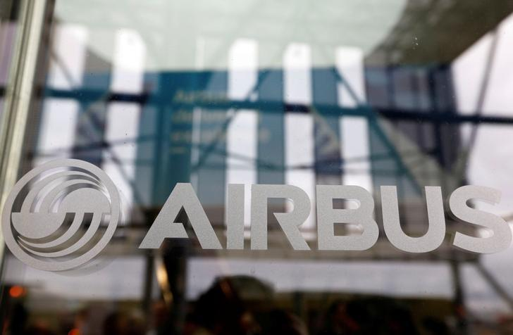 The logo of Airbus is pictured during the Airbus A350-1000 maiden flight event in Colomiers near Toulouse