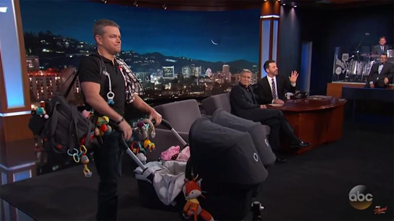 george clooney debuts his twins with the help of manny