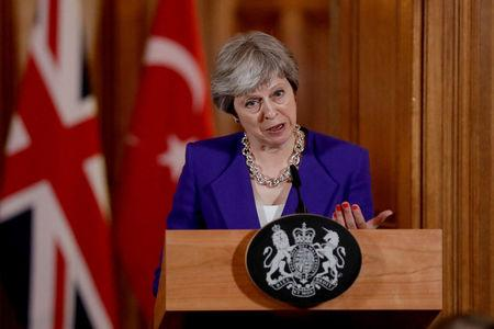 British Prime Minister Theresa May speaks as she takes part in a news conference with Turkey's President Recep Tayyip Erdogan, after their meeting at 10 Downing Street in London, Britain, May 15, 2018.  Matt Dunham/Pool via REUTERS