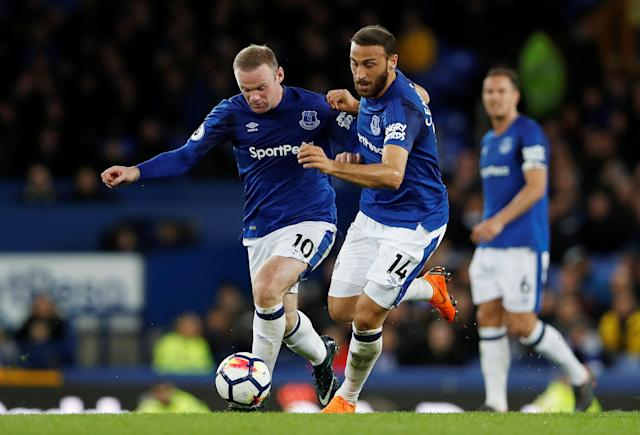 "Soccer Football - Premier League - Everton v Newcastle United - Goodison Park, Liverpool, Britain - April 23, 2018 Everton's Wayne Rooney and Cenk Tosun in action Action Images via Reuters/Lee Smith EDITORIAL USE ONLY. No use with unauthorized audio, video, data, fixture lists, club/league logos or ""live"" services. Online in-match use limited to 75 images, no video emulation. No use in betting, games or single club/league/player publications. Please contact your account representative for further details."