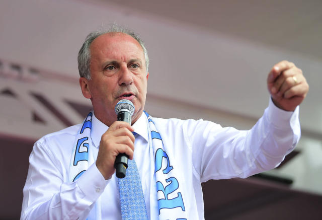 Muharrem Ince, the presidential candidate of Turkey's main opposition Republican People's Party, delivers a speech at a rally in Tunceli, Turkey, on Sunday. Ince is seen as a strong contender to end President Recep Tayyip Erdogan's 16 years of rule in the country's upcoming election. (Photo: CHP Press Service via AP)