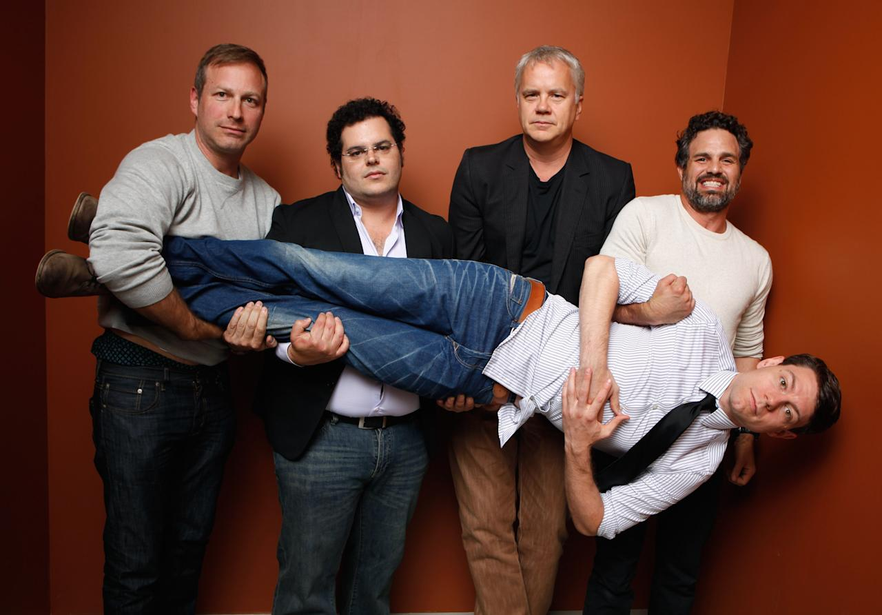 """TORONTO, ON - SEPTEMBER 09:  (L-R) Director Stuart Blumberg, actors Josh Gad, Tim Robbins, Mark Ruffalo and  Patrick Fugit of """"Thanks For Sharing"""" pose at the Guess Portrait Studio during 2012 Toronto International Film Festival on September 9, 2012 in Toronto, Canada.  (Photo by Matt Carr/Getty Images)"""