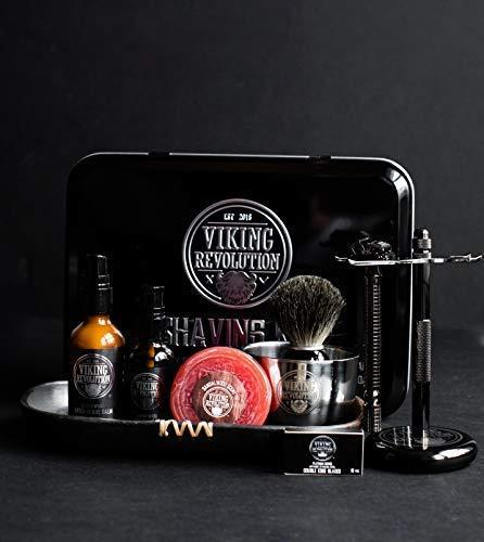 Luxury Safety Razor Shaving Kit - Includes Double Edge Safety Razor, Stand, Bowl, After-Shave Balm, Pre-Shave Oil, Badger Brush - Safety Razor Kit (Amazon / Amazon)