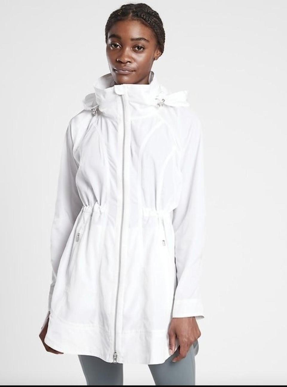 """<p>""""We have had a rainy season so far, but the weather is still warm, and I was in desperate need of a rain jacket that wouldn't make me hot. Thank goodness for <span>Athleta's Drip Drop Jacket</span> ($100, originally $149). The brand sent me one to try out, and it's been perfect for those hot, rainy days: it keeps me dry, and there is a hood that zips in or out if you need it."""" - Christina Stiehl, senior editor, Fitness</p>"""