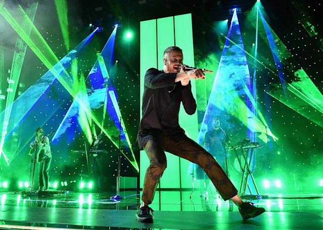<p>Singer Dan Reynolds of Imagine Dragons performs onstage during the 2017 Billboard Music Awards at T-Mobile Arena on May 21, 2017 in Las Vegas, Nevada. (Photo by John Shearer/BBMA2017/Getty Images for dcp) </p>
