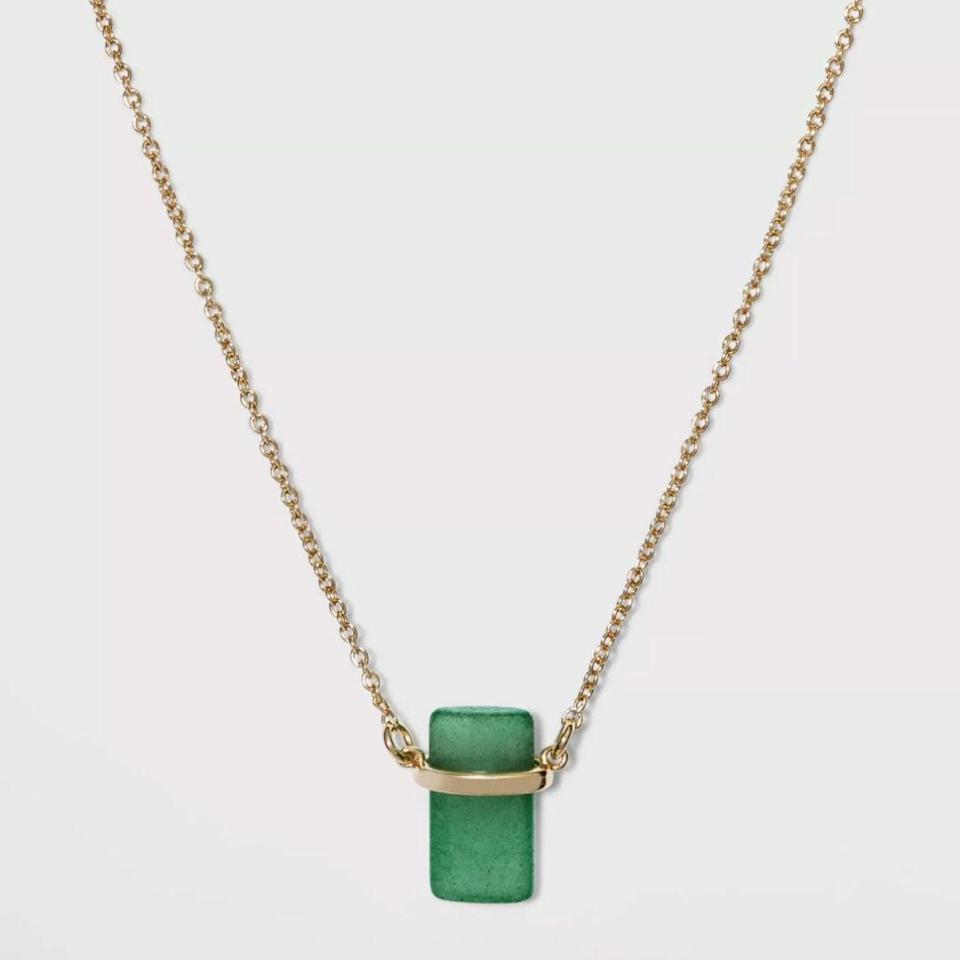 "There are probably a few people on your list who could benefit from this necklace, which features aventurine, a stone meant to inspire luck, prosperity, and success. $15, Target. <a href=""https://www.target.com/p/silver-plated-stone-with-gold-finish-necklace-a-new-day/-/A-81620940?preselect=80442486"" rel=""nofollow noopener"" target=""_blank"" data-ylk=""slk:Get it now!"" class=""link rapid-noclick-resp"">Get it now!</a>"