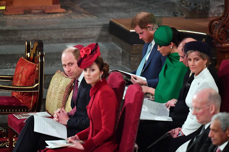 Prince Edward and his wife sat with the Duke and Duchess of Sussex at the annual Commonwealth Day service in March (Getty Images)