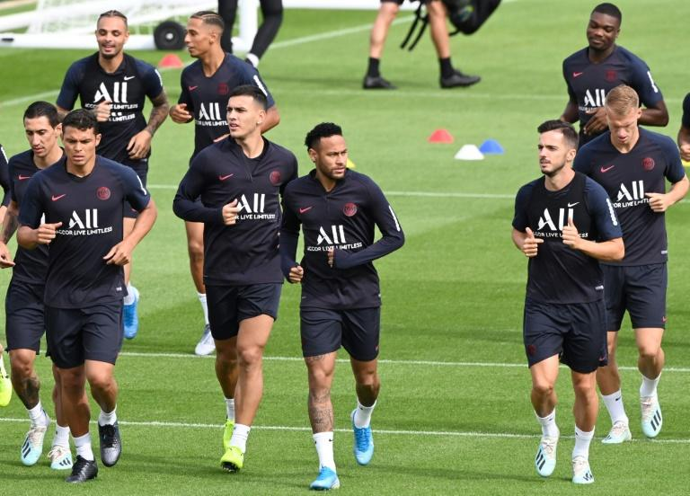 Neymar at training on Saturday morning as PSG confirm transfer talks 'more advanced than before'