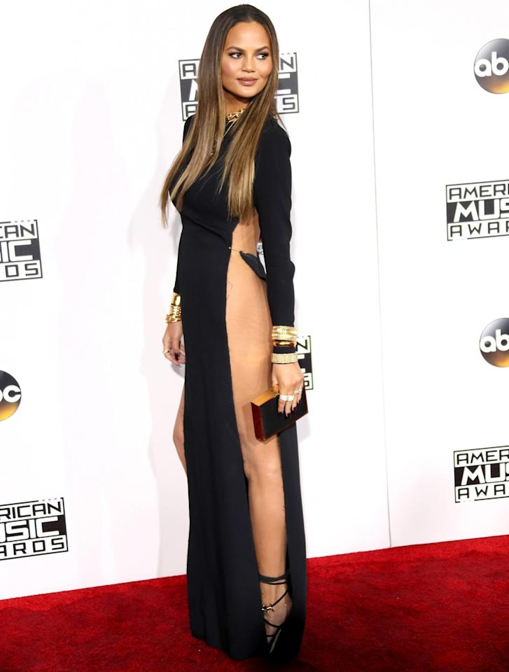 """<p>The <i>Sports Illustrated Swimsuit</i> model showed <a rel=""""nofollow"""" href=""""https://www.yahoo.com/celebrity/chrissy-teigen-joins-the-ranks-of-stars-who-suffered-nether-region-wardrobe-fails-175217140.html"""">more skin than she planned to</a> when she flashed her lady bits in this black number, which boasted slits to her pits, at the AMAs in November. Not that the new mom cared. She made a point to thank the place where she gets laser hair removal — as well as her stylist — for the racy look. (Photo: Getty Images) </p>"""