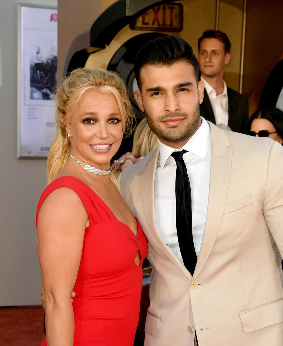 Britney Spears and Sam Asghari arrive at the premiere of Sony Pictures'