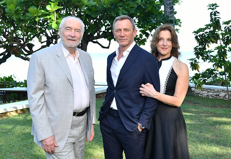 "MONTEGO BAY, JAMAICA - APRIL 25: (L-R) Producer Michael G Wilson, cast member Daniel Craig and producer Barbara Broccoli attend the ""Bond 25"" film launch at Ian Fleming's Home 'GoldenEye' on April 25, 2019 in Montego Bay, Jamaica. (Photo by Slaven Vlasic/Getty Images for Metro Goldwyn Mayer Pictures)"