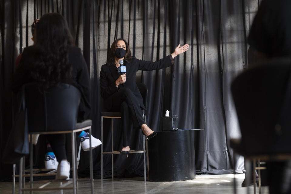 Democratic vice presidential candidate Sen. Kamala Harris, D-Calif., speaks to HBCU students during a campaign event, Friday, Oct. 23, 2020, in Atlanta. (AP Photo/John Amis)