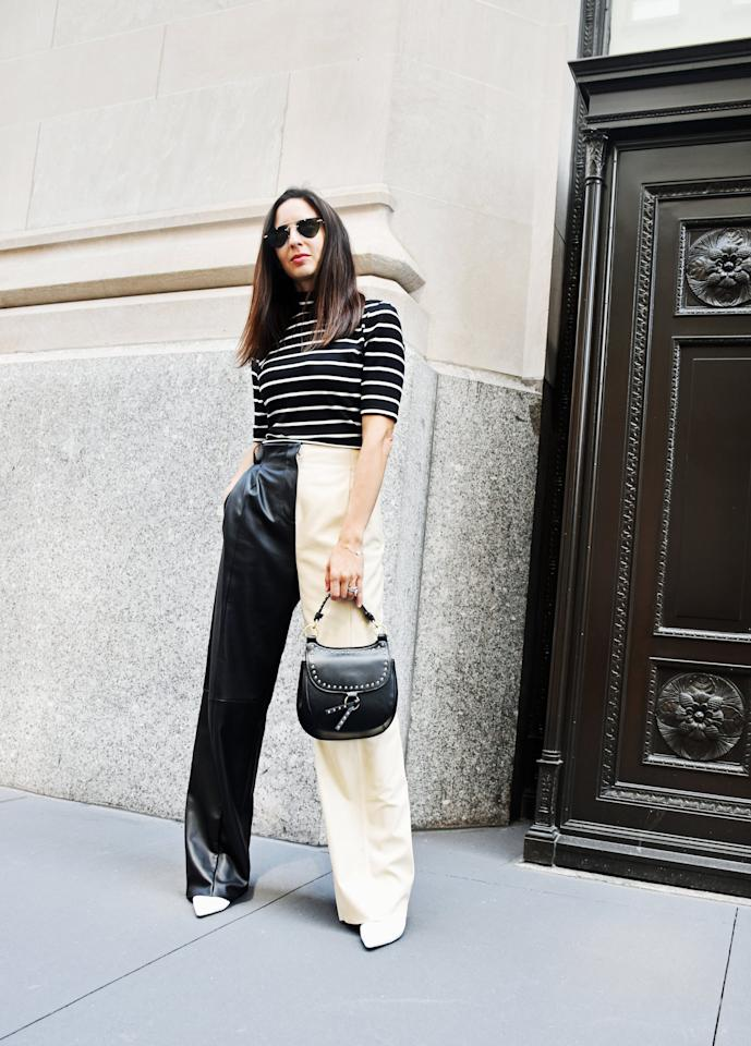 <p>Make leather pants feel easy with a simple striped top and sleek boots. </p> <p><em>On Dana: POPSUGAR at Kohl's top, Veda leather pants, Stuart Weitzman boots, a Zara bag, and Illesteva sunglasses.</em></p>