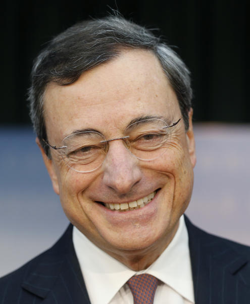 President of European Central Bank, ECB, Mario Draghi smiles prior to a news conference in Frankfurt, Germany, Thursday, June 6, 2013, following a meeting of the ECB governing council concerning the further strategies in the European financial crisis. Draghi said the economy of 17 European Union countries that use the euro would shrink 0.6 percent this year compared with the previous forecast of a 0.5 percent decline. (AP Photo/Michael Probst)