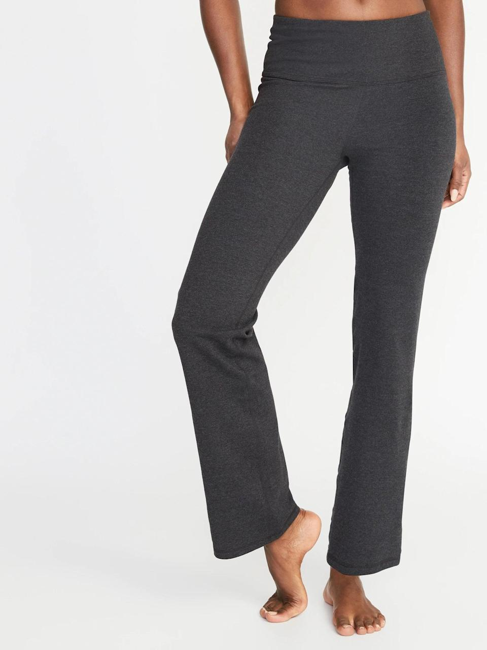 <p>We bet you'll keep the <span>Old Navy High-Waisted Slim Boot-Cut Yoga Pants</span> ($8-$9, originally $25) or <span>Old Navy Mid-Rise Wide-Leg Yoga Pants</span> ($8, originally $25) on long after your flow is finished.</p>