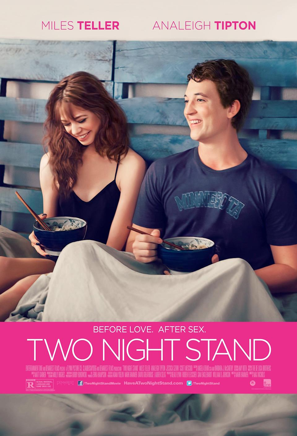 """<p>After swiping right on each other's dating profiles, Megan (Analeigh Tipton) and Alec (Miles Teller) are ready to take their flirty banter offline. What was supposed to be a one-and-done hook-up quickly turns into more after a blizzard traps these two in a New York City shoebox apartment.</p> <p><a href=""""http://www.amazon.com/Two-Night-Stand-Analeigh-Tipton/dp/B00OKA8LCU"""" class=""""link rapid-noclick-resp"""" rel=""""nofollow noopener"""" target=""""_blank"""" data-ylk=""""slk:Watch Two Night Stand on Amazon Prime."""">Watch <strong>Two Night Stand</strong> on Amazon Prime.</a></p>"""