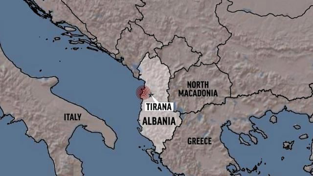 The location of the earthquake in Albania