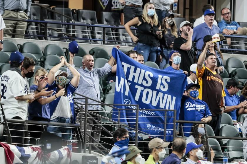 Arlington, Texas, Tuesday, October 20, 2020 Dodgers fans root for their team in game one of the World Series at Globe Life Field. (Robert Gauthier/ Los Angeles Times)