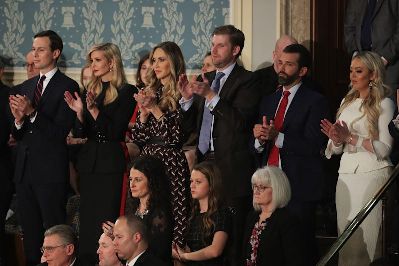 From left: Jared Kushner, Ivanka Trump, Lara Trump, Eric Trump, Donald Trump Jr. and Tiffany Trump look on during the State of the Union address in the chamber of the U.S. House of Representatives on Feb. 5, 2019, in Washington, D.C. President Trump's second State of the Union address was postponed one week due to the partial government shutdown. (Photo: Chip Somodevilla/Getty Images)