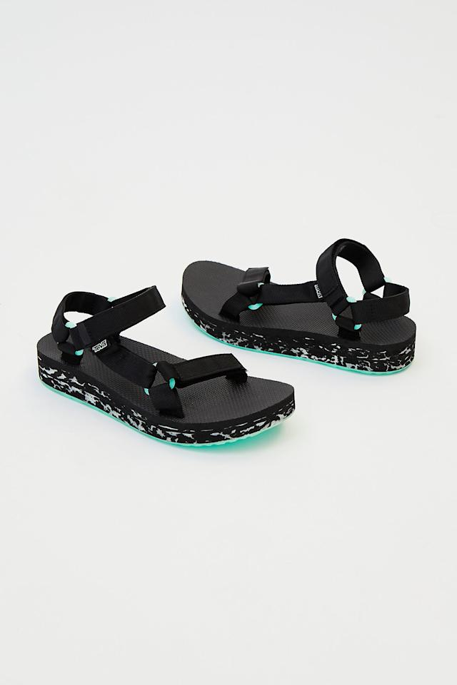 """<p>This year was all about ugly dad sneakers, but 2019 has its eye on a new kind of """"ugly"""". Teva-style sandals were the pièce de résistance at several SS19 runway shows and that's all the proof we need that this unlikely candidate is about to make it on your style wish list.<br /><strong><a rel=""""nofollow"""" href=""""https://www.freepeople.com/shop/midform-universal-glow-teva-sandal/?adpos=1o2&color=001&countryCode=ca&creative=246968879956¤cy=CAD&device=c&gclid=Cj0KCQiAr93gBRDSARIsADvHiOr2_Un-ZU46IHvf9qUrz-EnDjBxnMT1GaBC66S4WpGJPmb2ATze60kaAurIEALw_wcB&matchtype=&mrkgadid=3304997383&mrkgcl=720&network=g&product_id=44916674&ref=languageSelect&size=6&utm_content=CA%20All%20Products&utm_term=44916674"""">SHOP IT: Free People, Midform Universal Glow Teva Sandal, $99.75</a></strong> </p>"""