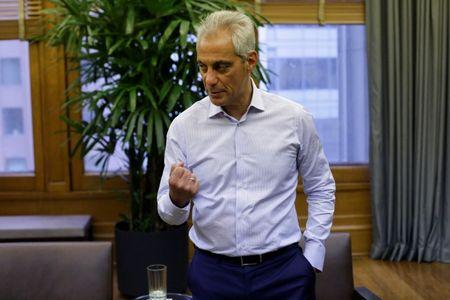 Chicago Mayor Rahm Emanuel speaks during an interview at City Hall in Chicago