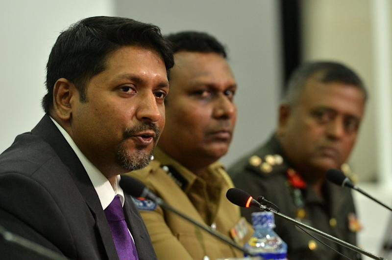 Sri Lanka's state minister of defence Ruwan Wijewardene speaks during a press conference in Colombo on April 24, 2019.