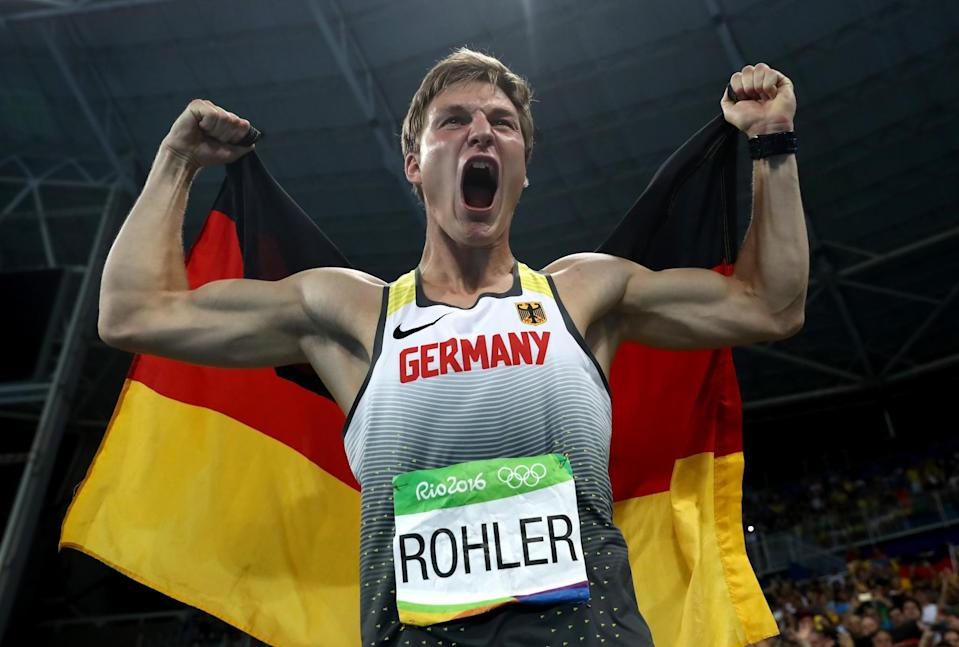 <p>Thomas Rohler of Germany reacts after winning gold in the Men's Javelin Throw on Day 15 of the Rio 2016 Olympic Games at the Olympic Stadium on August 20, 2016 in Rio de Janeiro, Brazil. (Photo by Alexander Hassenstein/Getty Images) </p>