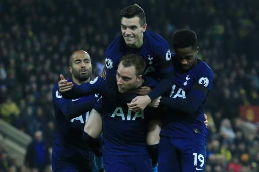 Christian Eriksen (bottom centre) scored Tottenham's first equaliser at Norwich