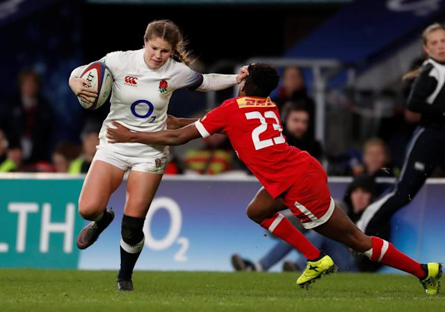 Rugby Union - Women's International - England vs Canada - Twickenham Stadium, London, Britain - November 25, 2017 England's Jess Breach gets past Canada's Sam Alli Action Images via Reuters/Paul Childs