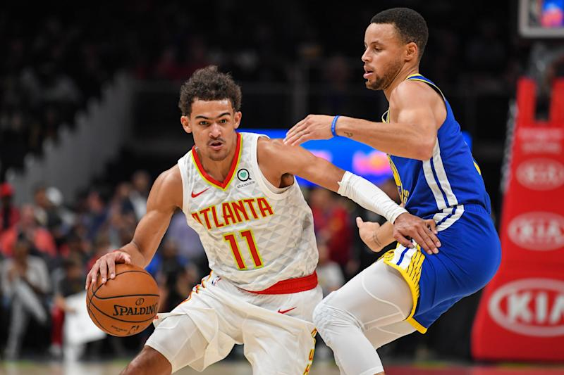Trae Young and Stephen Curry have swapped roles in the first week of the NBA season. (Reuters)