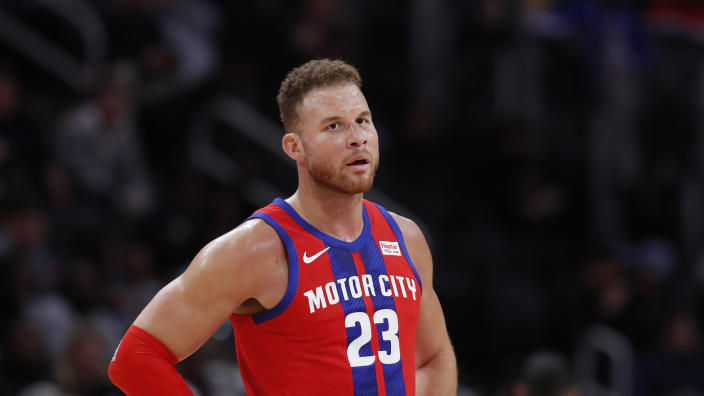 Detroit Pistons forward Blake Griffin is seen during the second half of an NBA basketball game, Friday, Nov. 29, 2019, in Detroit. (AP Photo/Carlos Osorio)