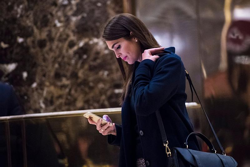 Hope Hicks, press secretary for President-elect Donald Trump's campaign, exits an elevator in the lobby at Trump Tower in New York, NY on Wednesday, Jan. 04, 2017.