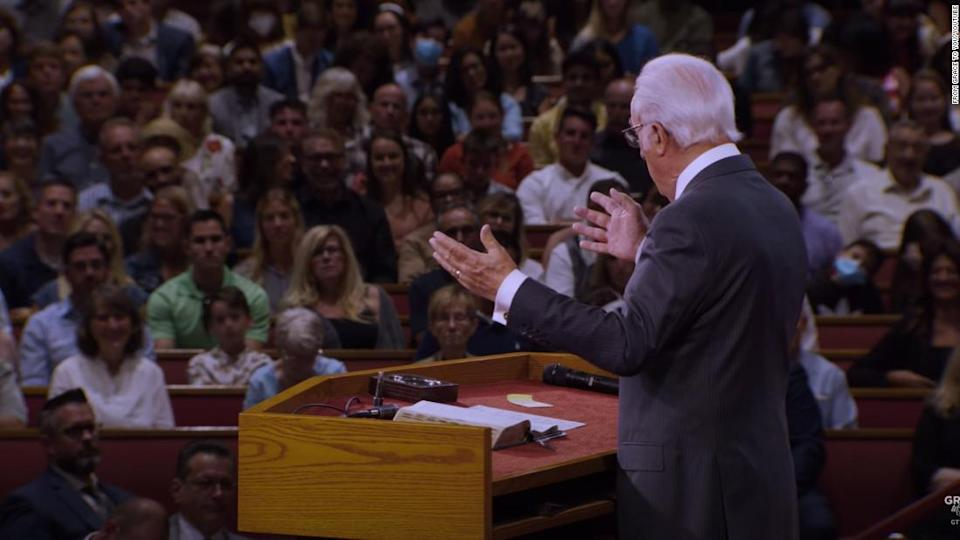 """<p>Pastor John MacArthur speaking at his California church in August. CNN has blurred a portion of this image to protect a child's identity. </p><div class=""""cnn--image__credit""""><em><small>Credit: From Grace to You/Youtube / From Youtube</small></em></div>"""