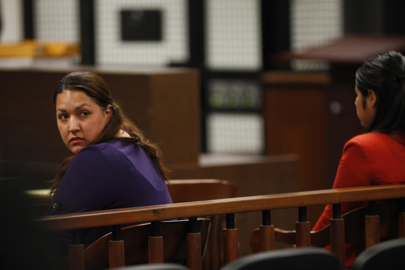 Candace Marie Brito, left, and co-defendant Vanesa Zavala sit in court during their preliminary hearing at the West Justice Center in Westminster, Calif. Monday Feb. 10, 2014. Brito and Zavala are facing charges in the beating death of Kim Pham in front of a Santa Ana nightclub. (AP PHOTO/LOS ANGELES TIMES, Mark Boster, Pool )