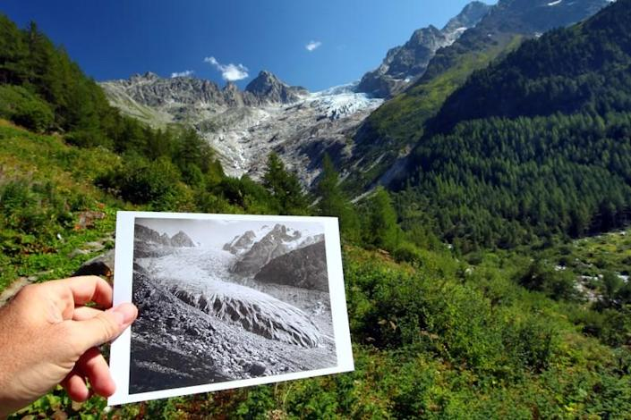 Picture of the Trient Glacier taken in 1891 is seen displayed in the same location in 2019
