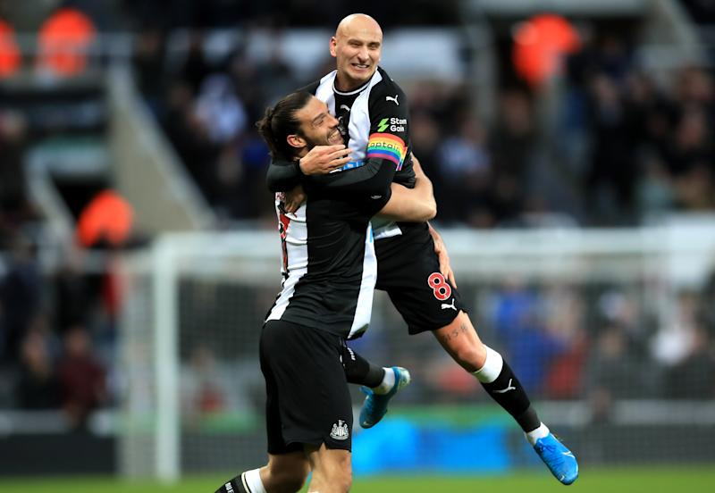 Newcastle United's Jonjo Shelvey (right) celebrates scoring his side's first goal of the game with team-mate Andy Carroll during the Premier League match at St James' Park, Newcastle. (Photo by Owen Humphreys/PA Images via Getty Images)