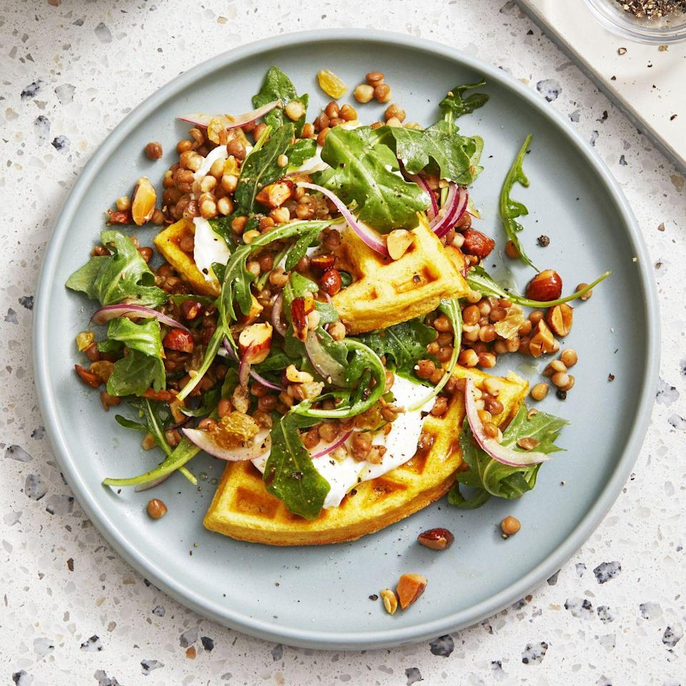 """<p><a href=""""https://www.prevention.com/food-nutrition/healthy-eating/g23709836/high-protein-breakfasts/"""" rel=""""nofollow noopener"""" target=""""_blank"""" data-ylk=""""slk:Breakfast foods"""" class=""""link rapid-noclick-resp"""">Breakfast foods</a> (and any other mid-morning snacks) don't have to be sweet. This recipe, selected by Jones, proves that savory can be just as satisfying, especially next to a cup of joe. Skip the cookies and eat this spiced lentil-arugula salad instead.</p><p><strong><em><a href=""""https://www.prevention.com/food-nutrition/recipes/a34315600/savory-lentil-waffles-recipe/"""" rel=""""nofollow noopener"""" target=""""_blank"""" data-ylk=""""slk:Get the recipe »"""" class=""""link rapid-noclick-resp"""">Get the recipe »</a></em></strong></p>"""