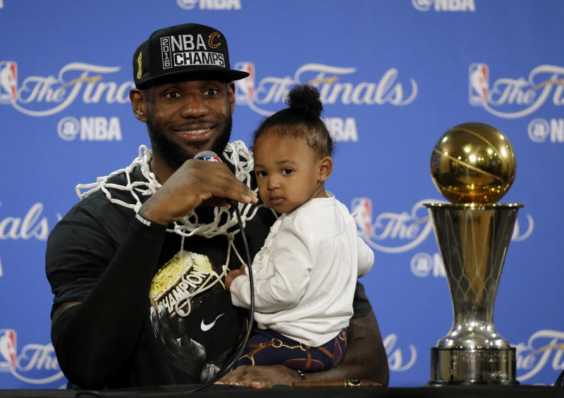 LeBron James is also a #girldad. (AP Photo/Eric Risberg, File)
