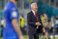 Switzerland's manager Vladimir Petkovic gives instructions to players during the Euro 2020 soccer championship group A match between Italy and Switzerland at the Olympic stadium in Rome, Italy, Wednesday, June 16, 2021. (AP Photo/Alessandra Tarantino, Pool)
